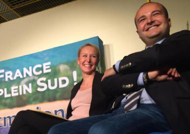 Marion Maréchal-Le Pen et David Rachline, en meeting à Antibes, le 6 novembre. © ES