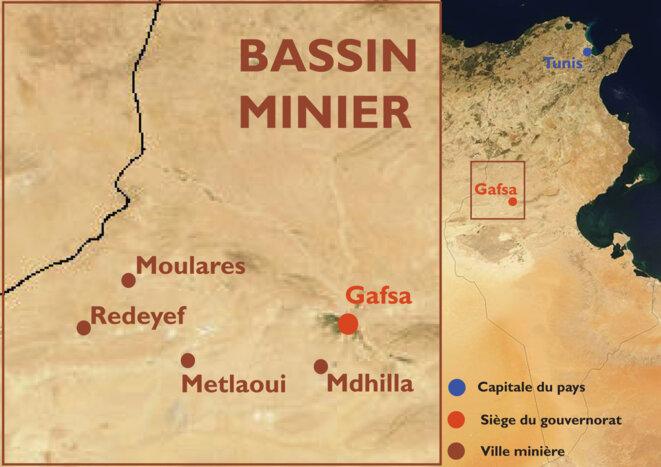 Le bassin minier et ses villes-usines : Metlaoui, Redeyef, Moulares et Mdhilla.