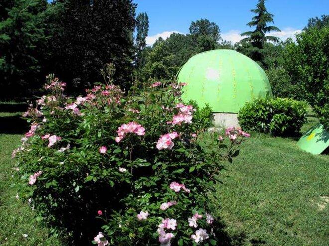 Une coupole astronomique d'amateur dans un jardin sympa.