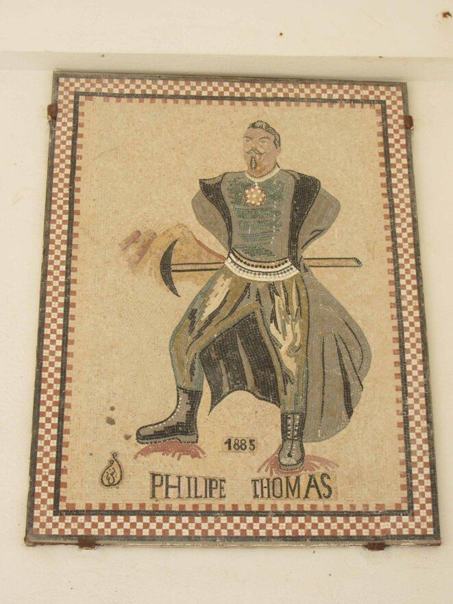 Une mosaïque représentant Philippe Thomas place du centenaire de la Compagnie de Phosphates de Gafsa à Metlaoui