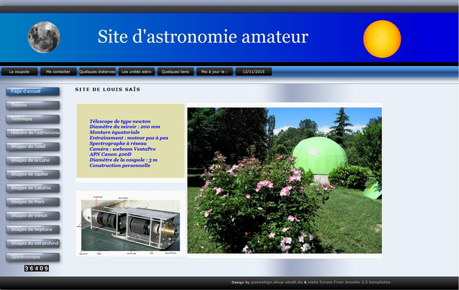 le site de Louis Saïs, capture d'écran du 25 novembre 2015.