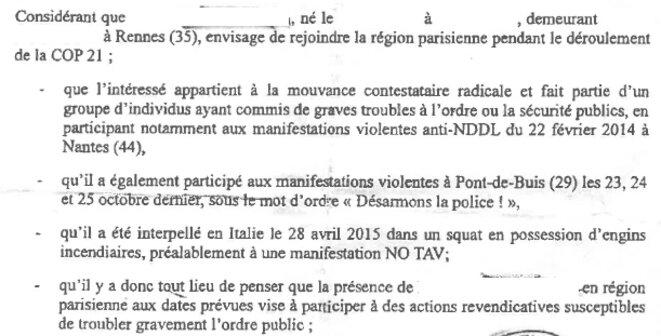 Extrait d'une des assignations à résidence décidée contre un militant rennais