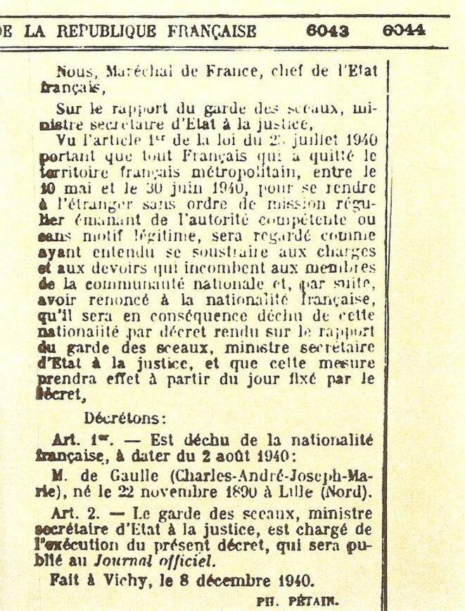 Journal officiel de la République française du 10 décembre 1940 © Journal officiel de la République française du 10 décembre 1940.
