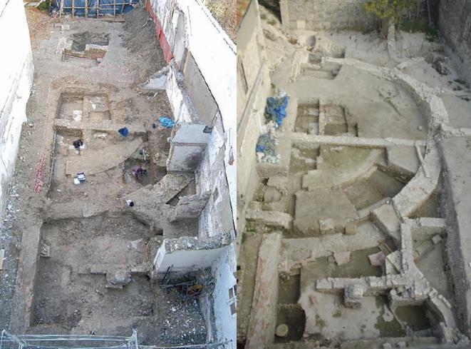 Deux stades des fouilles juxtaposés par M. Heijmans dans son rapport de fouilles de juin 2015 © Heijmans/CNRS