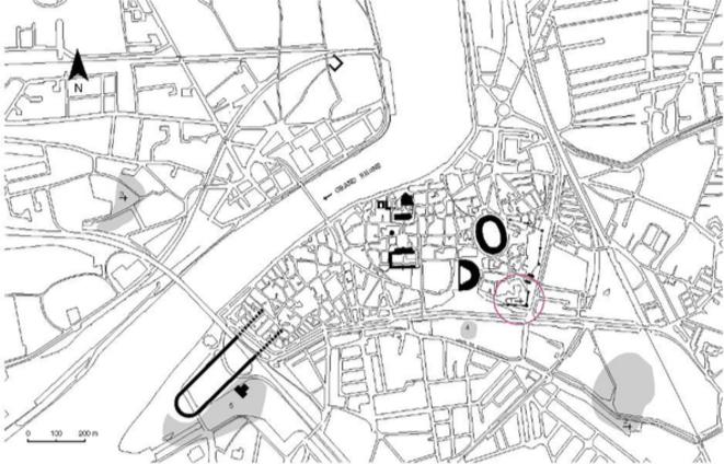 Le site est cerclé de rouge sur ce plan d'Arles en regard des monuments romains © Heijmans