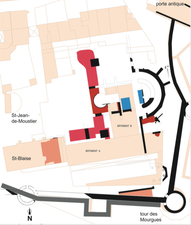 Un des plans évolutifs du site dessiné par Marc Heijmans: l'abside réorientée à l'est, le banc presbytéral, l'ambon © Heijmans