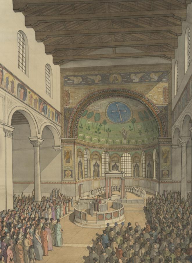 Une restitution de la basilique qui montre l'ambon, sorte de tribune © Golvin