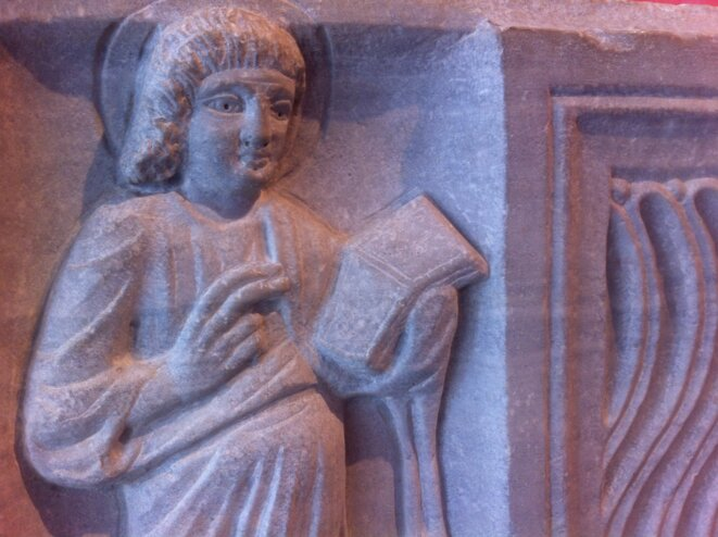 Sarcophage du Christ nimbé, fin IVème siècle (détail) © MDAA/Polomé