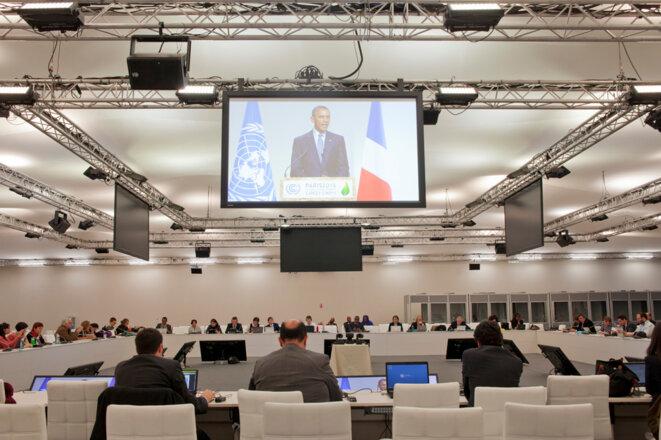 Le président américain Barack Obama pendant son discours, vu depuis la salle de presse © Jean-Paul Duarte