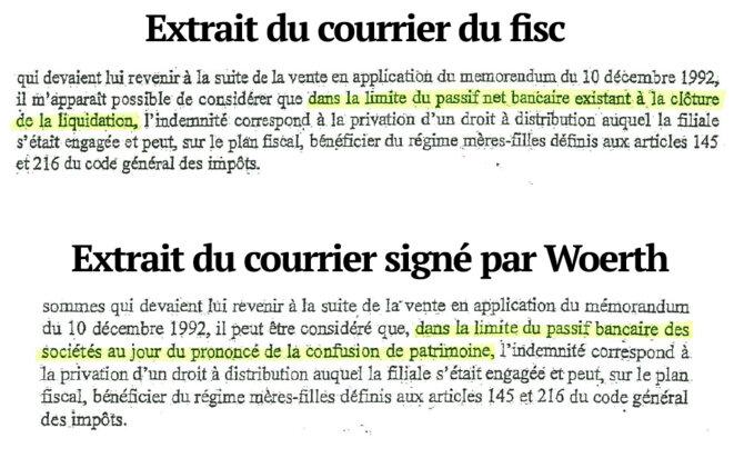 Comparaison entre le courrier original du fisc et celui signé par Eric Woerth. © Mediapart