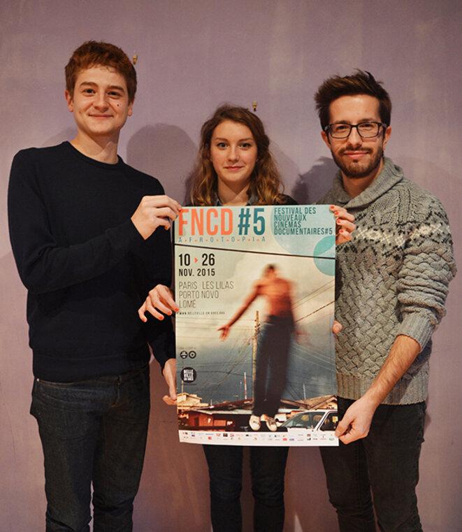 Une partie de l'équipe d'Effeuillage: Matthieu, Angèle et Benoît