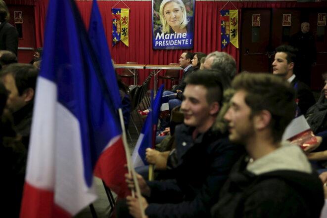 Lors d'une réunion publique de Marine Le Pen, le 23 novembre à Amiens.