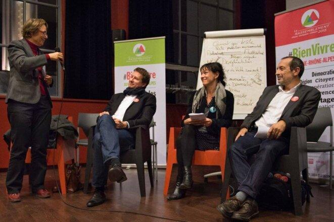 De g. à droite: M. Billard (PG), Y. Jadot (EELV), J.-C. Kohlhaas (EELV) et C. Morel Darleux (PG) © Parti de gauche