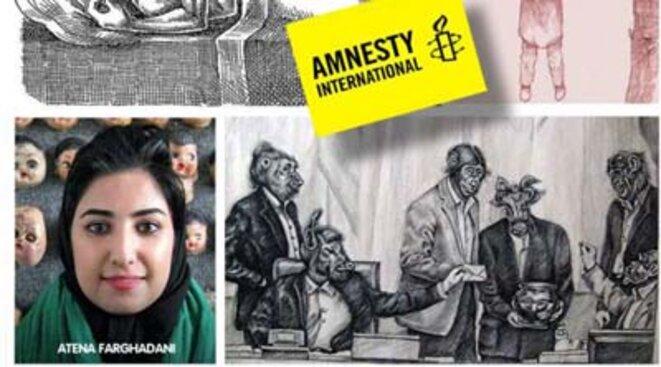 L'artiste engagée Atena Farghadani a été condamnée pour avoir publié une caricature dénonçant le régime © Atena