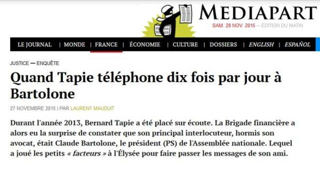 Révélations Médipart sur Bartolone et Tapie © DR