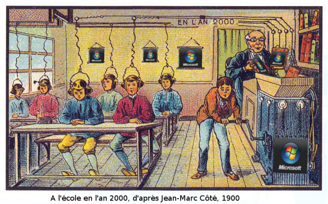 L'école en l'an 2000 © d'après Jean-Marc Côté (vers 1900)