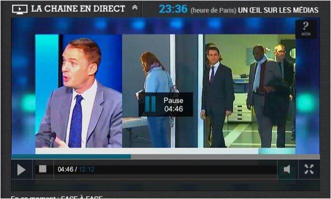 pendant un faux débat de chien de garde, derriere eux Valls déscend voter dans la populasse avec son célbre garde du corps alibi © France 24 malgrés eux