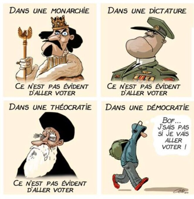 L'abstentionniste est à la démocratie ce que le dictateur est à un régime totalitaire, c'est bien connu. Il est aussi jeune et porte des sweats à capuche.