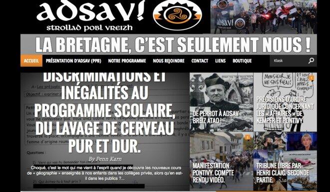 capture d'écran du site d'Adsav