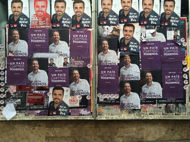 Carteles de la campaña en Madrid: Podemos (Pablo Iglesias) frente a IU (Alberto Garzón).