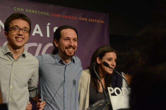 Pablo Iglesias et l'état major de Podemos après les résultats le 20 décembre © Amandine Sanial