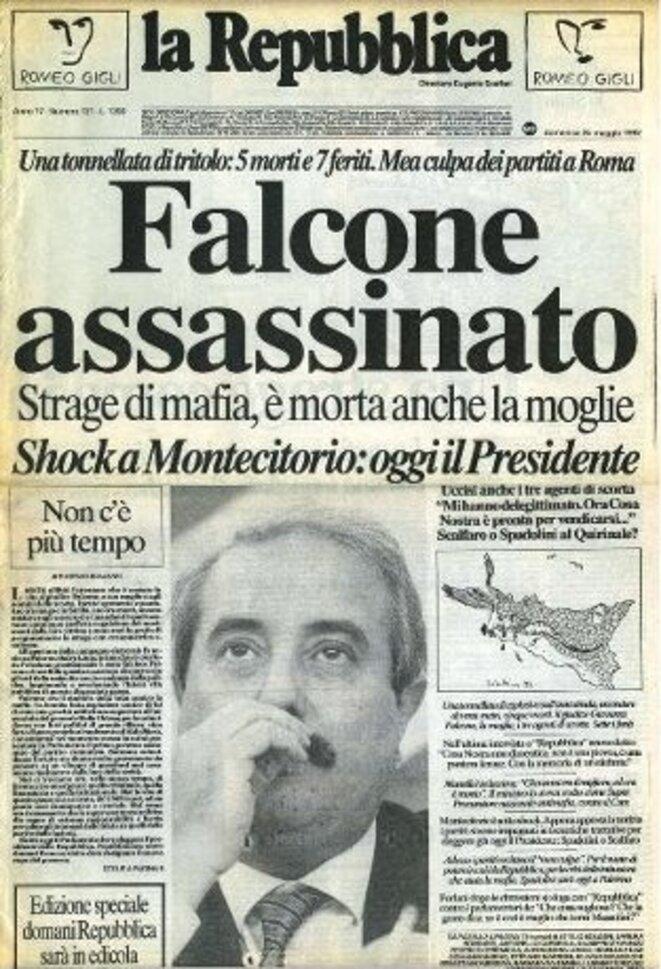 Assassinat de Giovanni Falcone : la une de La Repubblica