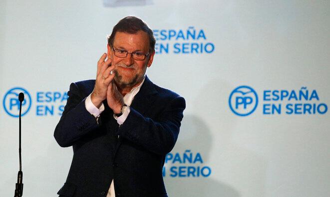 Mariano Rajoy el domingo por la noche en la sede del PP. © Marcelo del Pozo / Reuters
