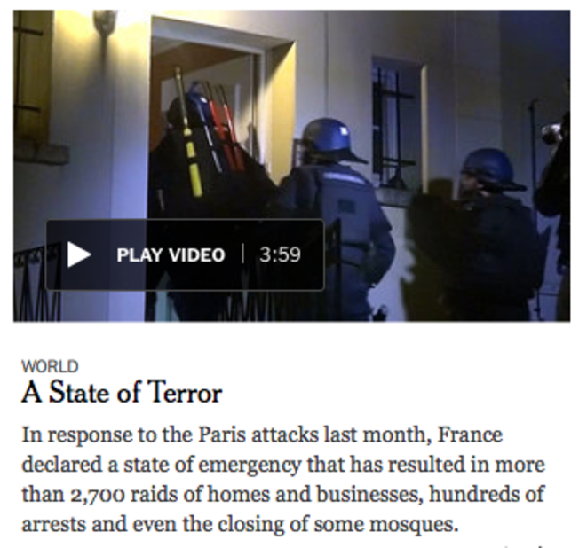"""""""A State of Terror"""" © New York Times"""