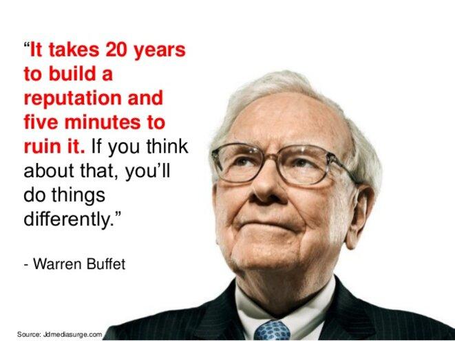 Citation de Buffett sur la réputation