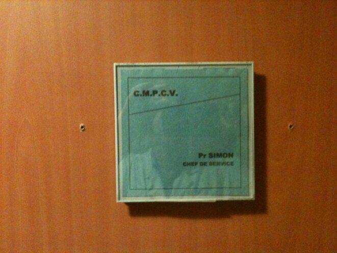 La porte du bureau du professeur Alain Simon, à l'HEGP © DR