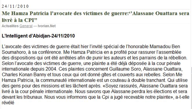 Plainte de Me Hamza contre Ouattara déposée à la CPI