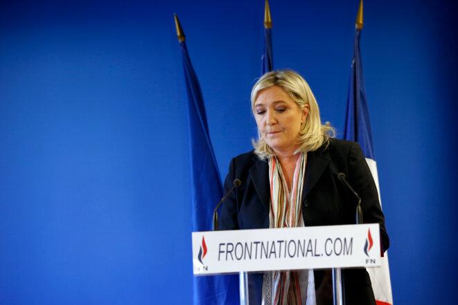 Marine Le Pen lors de ses vœux au siège du FN, le 7 janvier 2016. © Reuters
