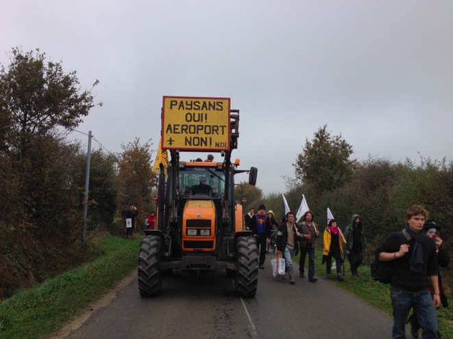 A demonstration to re-occupy the airport development area at Notre-Dames-des-Landes in 2012. (JL)