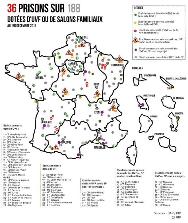 Le retard des établissements pénitentiaires français pour la mise en place des unités de vie familiale © OIP-SF