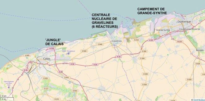 La 'jungle' de Calais, la centrale nucléaire de Graveline, le camp de la honte de Grande-Synthe © pas de copyright