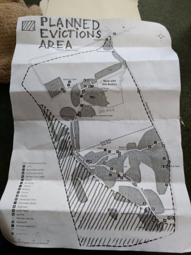 «Planned evictions area» © Calais Migrant Solidarity
