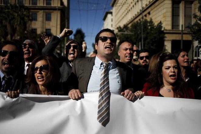 Manifestation à Athènes contre la réforme des retraites, jeudi 14 janvier 2016 © Reuters