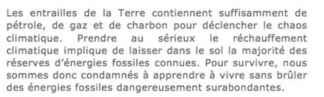 Extraits de Sortons de l'âge des fossiles ! Manifeste pour la transition, Seuil, Anthropocène, 2015