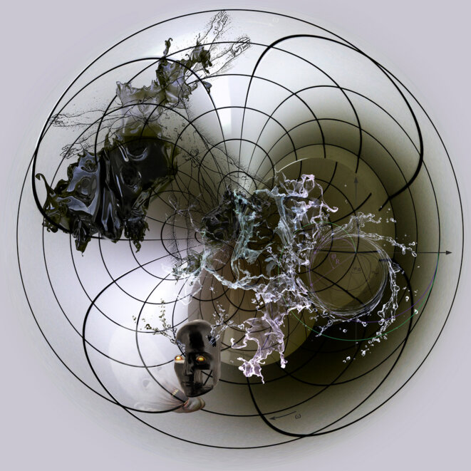 Trigonomorphose toroïdale de l'illusion centripète de l'Être à travers l'n-sphère de l'in-formation centrifuge de l'Entre actualisant une ligne-de-fuite dans les linéaments virtuels de la Voie (dào) entrouverte par le Souffle (qì) du Vide Médian (taìjítú) © jef safi