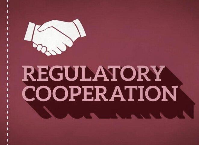 Image d'une campagne de l'ONG CEO, sur la « convergence réglementaire » intégrée dans le TAFTA.