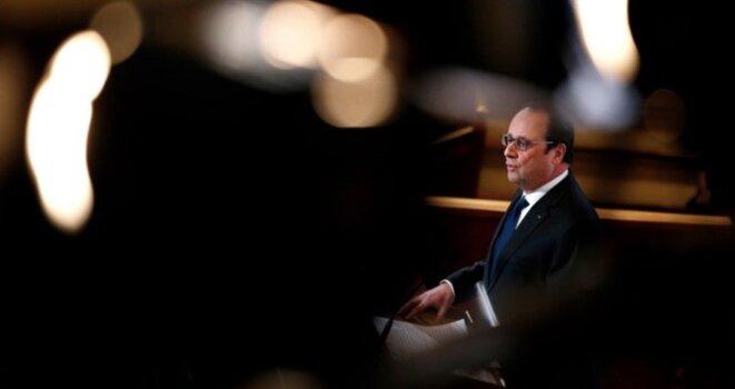 François Hollande devant le CESE, le 18 janvier 2015. © Reuters