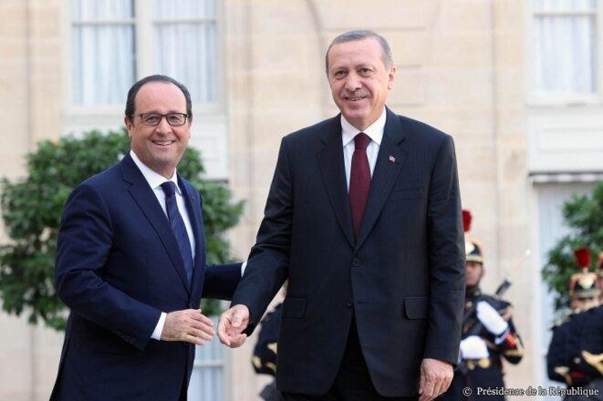 François Hollande reçoit Recep Tayyip Erdogan, le 31 octobre 2014, à l'Élysée