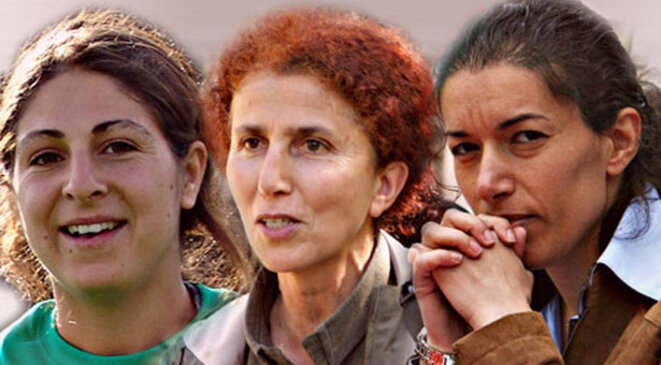 The three Kurdish activists killed in 2013: Leyla Saylemez, Sakine Cansiz, Fidan Dogan.