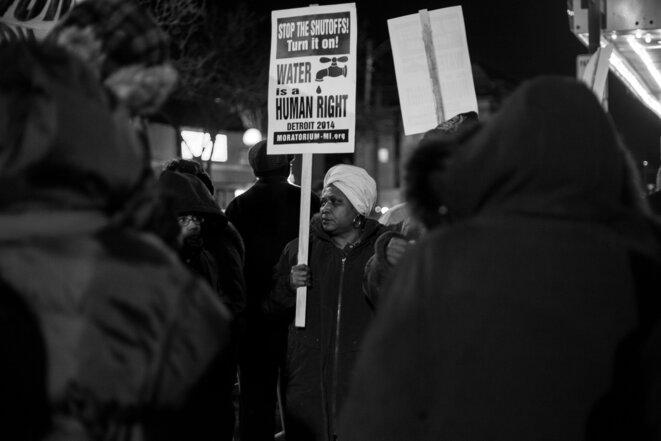 Pendant une manifestation à Détroit, février 2015. © Nastasia Peteuil