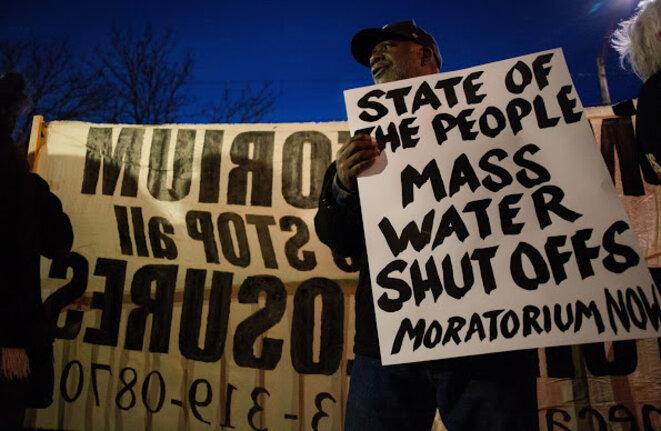 Manifestation contre les coupures d'eau en février 2015 à Détroit. © Nastasia Peteuil