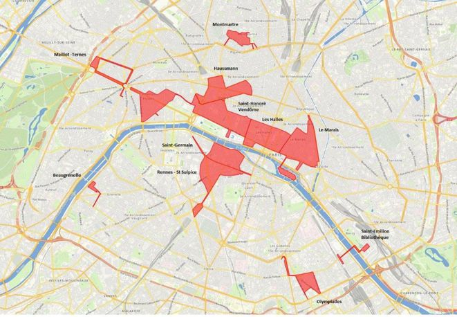 Zones touristiques internationales à Paris, selon le ministère de l'économie