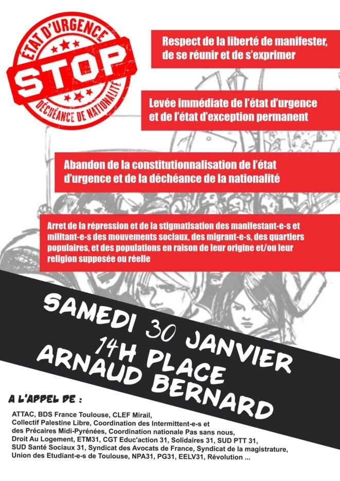 """Tract de la Manifestation Unitaire """"Stop à l'Etat d'Urgence"""""""