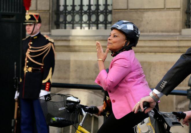 Christiane Taubira quittant l'Elysée le 13 mars 2014 © Reuters