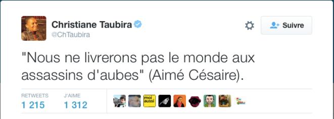 Le poético-tweet de Césaire Taubira