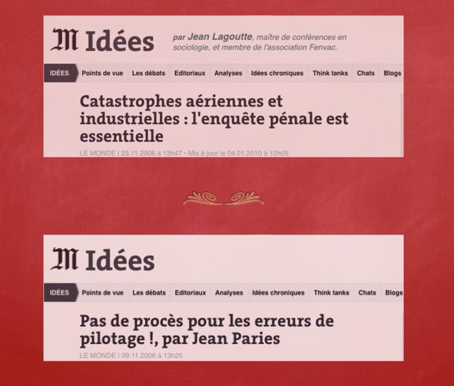 Débat par Tribune du journal Le Monde © Jean Pariès & Jean Lagoutte